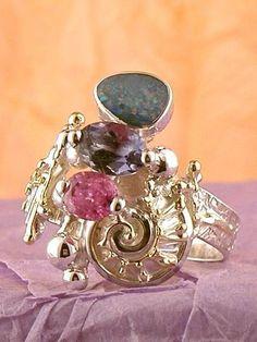 Gregory Pyra Piro #Schmuckkunst Silber und Gold mit #Edelsteinen Unikat #Ring Nr. 9803