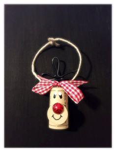 This listing is for a Set of 4 Wine Cork Rudolph Ornaments tied with a red & white ribbon. They will come packaged as a gift set. Here are just a few ideas of what these ornaments can be used for: -Wine Lovers Gift Set -Wine Bottle Charms - Add one to every wine bottle you give as a gift! -Christmas Party Favors -Cookie Swap Favors/Decor -Christmas Tree Ornaments -Gift Wrap Embellishment This is cork recycling at its best! These adorable Reindeer and Snowmen are handmade from 100%...