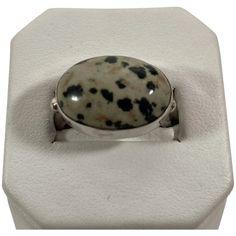 Dalmatian Jasper Ring in Modernist Sterling Setting Jasper Color, Vintage Silver Jewelry, Stone Cuts, Dalmatian, Jewelry Rings, Vintage Items, Vintage Fashion, Sterling Silver, Closet