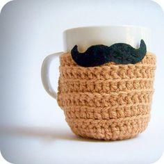 Funny coffee cozy mug tea cup black handlebar mustache crochet handmade tan