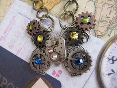 Steampunk Necklace, Steampunk Jewelry, Watch, Goth, Butterfly, Jewelry, Gothic, Industrial, Watch Parts, Women Gift idea