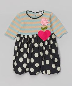 Loving this Little Dreamers by Victoria Kids Aqua Stripe & Polka Dot Bubble Dress - Infant, Toddler & Girls on #zulily! #zulilyfinds