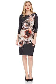 7b666ead34129 Roman Originals Women s Online Exclusive Ruched Floral Jersey Dress - 20   Amazon.co.uk  Clothing