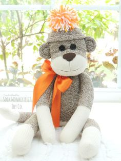 Sock Monkey Doll, Chimp, Stuffed Child's Toy, Dolls for Boys