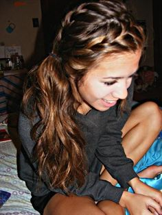 two french braids and a side pony - cute hairstyles for girl #New Hair Styles for Girls