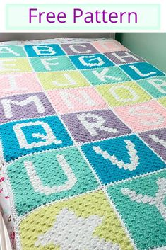 Free corner to corner crochet Alphabet blanket pattern. Crochet Alphabet Letters, Crochet Letters Pattern, Pixel Crochet Blanket, Granny Square Crochet Pattern, Afghan Crochet Patterns, Baby Knitting Patterns, Corner To Corner Crochet Pattern, Simply Crochet, Crochet For Beginners Blanket