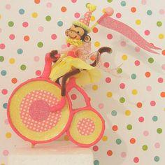 Girl Monkey Riding Bike Cake Topper/Table by marileejanedesigns.etsy.com