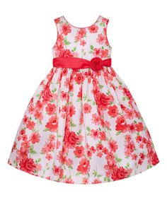 Look what I found on #zulily! Pink & White Daffodil A-Line Dress - Infant, Toddler & Girls #zulilyfinds