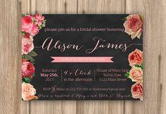chalkboard bridal shower invite, pink roses, printable invite,  PROOF in under 48hrs