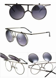 675674aee3 gun grey punk round flip up glasses Flip Up Glasses