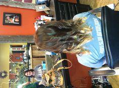 Peekaboo blonde highlights under beautiful  brown. This IS my hair. Whitney Douglas at salon 38 is a hair genius.
