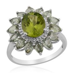 Liquidation Channel | Hebei Peridot and Green Sapphire Ring in Platinum Overlay Sterling Silver (Nickel Free)