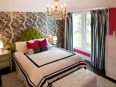 It's hard to believe this contemporary bedroom is for a preteen girl. The design incorporates the girl's favorite colors and patterns. The bright green headboard adds to her love of rock 'n' roll music. Design by Jennifer Jones.