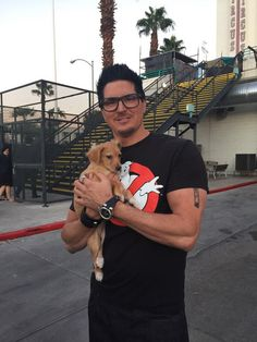 Ghost Adventures: Zak Bagans showing his cuddly side with a cute little pup.
