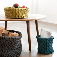Knitted Baskets for a DIY Feel.