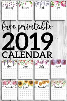 Monthly calendar pages. Cute office or desk organization. The post Free Printable Calendar 2019 Floral appeared first on Schreibtisch ideen. Calendar Organization, Diy Organisation, Paper Organization, School Organization, Stationary Organization, Printable Organization, Calendar 2019 Printable, Printable Planner, Free Printables