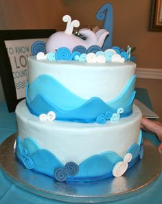 Boys first birthday whale with waves cake! So cute!