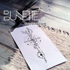 Compass geometric arrow minimal linework tattoo idea inspiration bunette