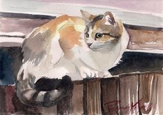 Print of the Original Watercolor Painting Calico Cat Kitty Kitten Three Colored Cat By Yuliya Podlinnova by creativeartistic on Etsy https://www.etsy.com/listing/216893278/print-of-the-original-watercolor