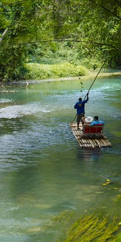 Experience the #Jamaica countryside on a peaceful river raft excursion. #HomeofAllRight