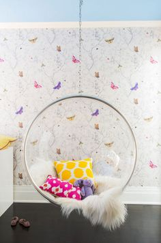 ombre teen girls bedroom with hanging chair // Nicole Hollis ...