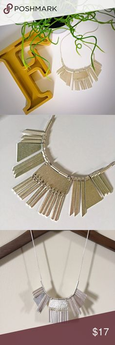 """Silver Statement Necklace Silver statement necklace. This super chic silver colored necklace boasts weight and a matte sheen. This can go with anything...seriously I checked it with my inventory. Possibilities are endless. 9"""" drop with 3"""" extension. Jewelry Necklaces"""