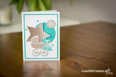 """Love2BeCreative.de Babykarte  Anlässe und Feiertage, Bermudablau / Bermuda Bay, Farben / Colors, Flüsterweiß / Whisper White, Framelits Sternen-Kollektion, Fürs Etikett / Tag Talk, Geburt, Karten, Kreis 1"""" (2,5cm), Schiefergrau / Smoky Slate, Signalfarben / Brights, Silber, Something for Baby, Stempelsets / Stampset Baby Card, Baby Shower, Babykarte, Bermuda Bay, Bermudablau, einfach, Flüsterweiß, Framelits, Fürs Etikett, Geburt, Gratulation, Stampin' Up!"""