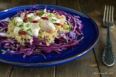 Mi piace e non mi piace: Insalata di Pollo, Quinoa e Cavolo Viola con Dip di Yogurt all' Arancia
