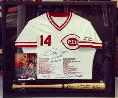 Custom framed Pete Rose signed jersey with photo and bat. #jerseyframing #sportsframing #peterose #cincinattireds #gift