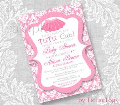 Pink TuTu Baby Shower Invitations Invite You Print Personalized Damask…