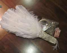 "Custom made BRIDAL FEATHER FAN gemstone instead of Bouquet with ""throw away fan""…"