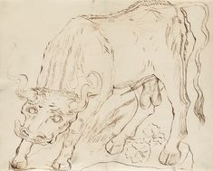 Carl Fredrik Hill, 1849-1911. Tjur. Tusch, 33,5 x 41,5 cm.