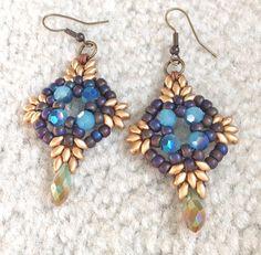handmade women beaded earrings drop dangle blue by fatash1 on Etsy