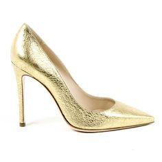 Versace 3103079 Crack Oro Décolleté Shoes Women's Gold Us Leather Heels, Calf Leather, Gold Pumps, Versace, Calves, Stiletto Heels, Detail, Composition, Milano Italia
