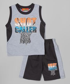 Look at this Black 'Shot Caller' Tank & Shorts - Infant, Toddler & Boys on #zulily today!