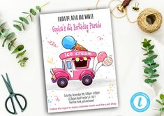Editable Drive By Birthday Parade Invitation, Virtual Party Invite, Ice Creme Girl Pink Invitation, Instant Download Digital, YOU PRINT Pink Invitations, Party Printables, Pink Girl, Save Yourself, Templates, Digital, Printed, Birthday, Cards