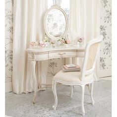 Provencal White French Chair | Bedroom Chair #Frenchbedrooms #Romance #Luxury