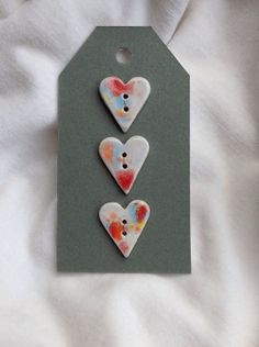 Handmade heart shaped ceramic buttons - set of 3. on Etsy, £7.00