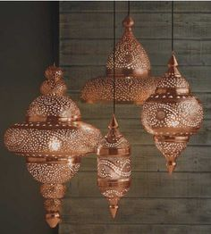 Bright Copper Moroccan Hanging Lamp - Candles