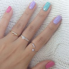 Pink, green and lilac pastel nail colours! - Lovely, simple nails and dainty rings by Hello Miss Apple.
