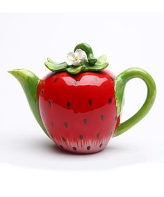 Strawberry Teapot 5 in.H Size: 7 in.H Enjoy this exquisite item from Cosmos Gifts. High quality ceramic construction, Hand wash only. Tea Pot Set, Pot Sets, Strawberry Kitchen, Teapots Unique, Teapots And Cups, Ceramic Teapots, How To Make Tea, Chocolate Pots, Biscuit