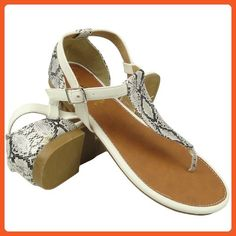 Women Flat Snake Print T-Strap Thong and Back Closure Comfort Sandals White Sz 5.5-10 - Sandals for women (*Amazon Partner-Link)