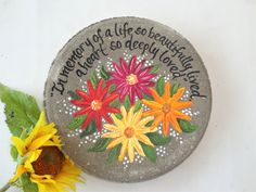 MEMORIAL GIFTS, Memorial Garden Stones, Gerbera Daisy Memorial Garden Stone, Memorial Gift, Memorial Gifts, Mothers Day, Sympathy Gift by samdesigns22 on Etsy Painted Stepping Stones, Painted Rocks, Memorial Garden Stones, Wedding Gifts For Parents, Iris Flowers, Gerbera Daisies, Flower Bouquets, Bridal Bouquets, Iris Garden