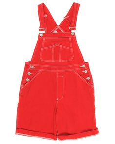 Red Short Dungarees - M