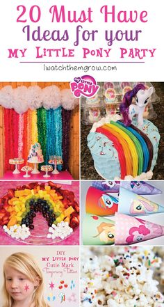 Must-Have Ideas for Your My Little Pony Party Lots of really great My Little Pony party ideas - especially for those planning on a budget!Lots of really great My Little Pony party ideas - especially for those planning on a budget! My Little Pony Party, Cumple My Little Pony, My Lil Pony, My Little Pony Pinata, My Little Pony Cupcakes, My Little Pony Games, Unicorn Birthday Parties, Unicorn Party, Girl Birthday