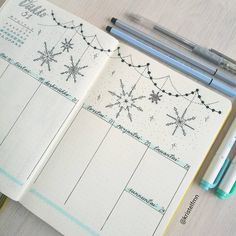 A beautiful winter snowflake bullet journal spread with light color. Bujo inspiration to get you through the winter weeks Bullet Journal Tracker, Bullet Journal December, Bullet Journal Weekly Layout, Bullet Journal Monthly Spread, Bullet Journal Quotes, Bullet Journal Cover Page, Bullet Journal Notebook, Bullet Journal Inspo, Filofax Pocket
