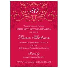 80th+Birthday+Fleur+Red+Invitations
