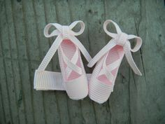Ballet Slippers Hair Clip -- Ribbon Sculpture-- Hair bow. $4.00, via Etsy.
