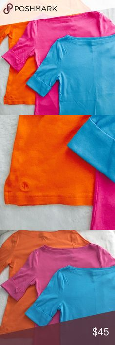 3 Lauren Ralph Lauren Spring Boat Neck Tee's •EUC •Boat-Neck •3/4 Sleeve •100% Cotton •Machine wash cold, gentle cycle •Tumble dry low •Colors: Orange, Blue, Pink Lauren Ralph Lauren Tops
