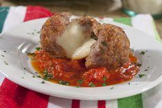 Cheesy Stuffed Meatballs | MrFood.com. Use organic ground beef, and organic tomato sauce.